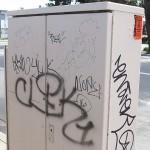 Graffiti on a utility box (Hayward, California)