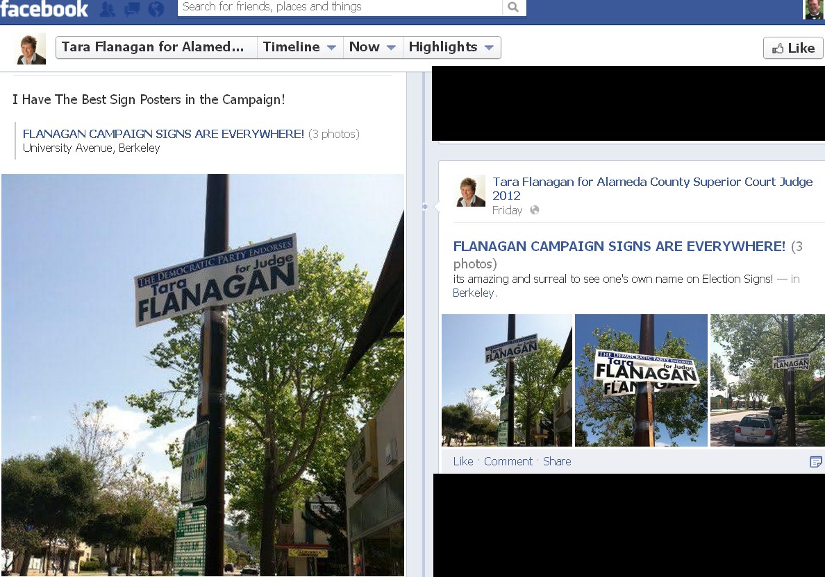 don t vote for tara flanagan for judge illegal campaign signs below